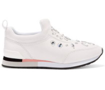 Laney crystal-embellished leather slip-on sneakers