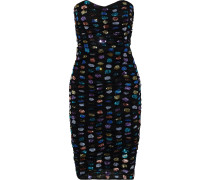 Woman Strapless Ruched Sequin-embellished Tulle Dress Black