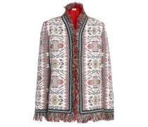 Fringed Embellished Cotton And Silk-blend Jacquard Jacket Ecru