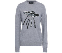 Sequin-embellished Merino Wool Sweater Gray