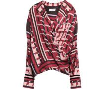 Wrap-effect Velvet-trimmed Silk-twill Blouse Claret Size 14