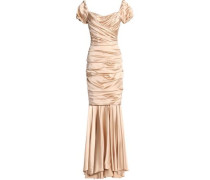 Ruched silk-blend satin gown