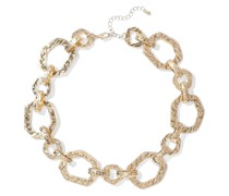 Woman Hammered Gold-plated Necklace Gold