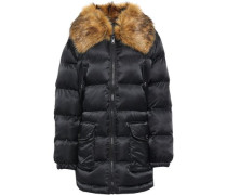 Faux Fur-trimmed Quilted Shell Coat Black