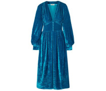 Gathered Crushed-velvet Robe Midi Dress Blue