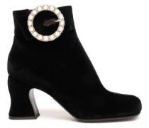 Kitty Embellished Velvet Ankle Boots Black