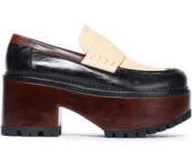 Color-block Leather Platform Loafers Dark Brown