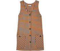 Baydere Houndstooth Wool Mini Dress Camel