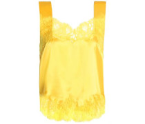 Lace-trimmed Silk-satin Camisole Yellow