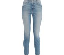 The Caballo Cropped Frayed Mid-rise Slim-leg Jeans Mid Denim  4