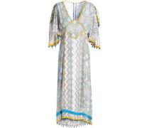 Pompom-embellished printed silk midi dress