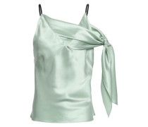 Knotted Silk-satin Camisole Mint