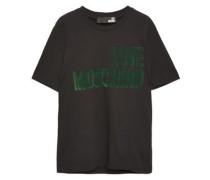 Flocked Cotton-jersey T-shirt Black