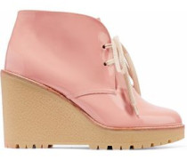 Patent-leather Wedge Ankle Boots Antique Rose