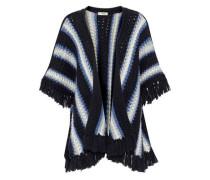 Grace fringe-trimmed striped wool-blend poncho