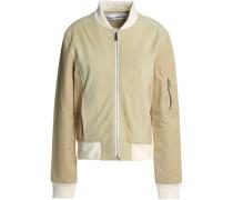 Suede and gabardine-paneled bomber jacket
