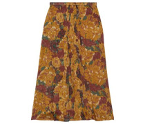 Ose Gathered Floral-print Silk-georgette Midi Skirt Mustard
