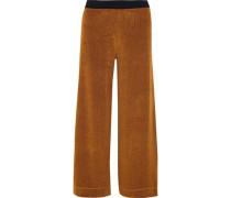 Chenille Wide-leg Pants Camel
