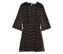 Woman Flora Printed Cotton And Silk-blend Georgette Mini Dress Black