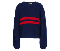 Intarsia Cotton-blend Sweater Midnight Blue
