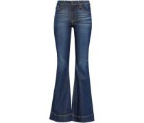 Cosmic Dancer Faded Mid-rise Flared Jeans Dark Denim  4