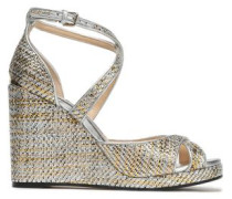 Metallic Woven Wedge Sandals Silver