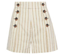 Button-embellished Striped Twill Shorts Ecru