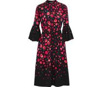 Open knit-trimmed floral-print crepe dress