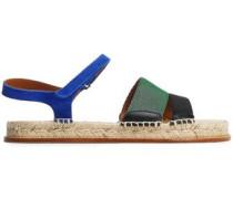 Grosgrain And Suede Espadrille Sandals Multicolor