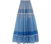 Elsa tiered printed silk-blend chiffon maxi skirt