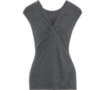 Chrissy Twist-front Stretch-micro Modal Jersey Top Dark Gray