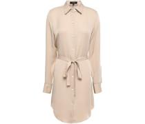 Silk Mini Shirt Dress Neutral