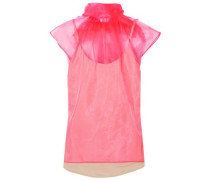Pussy-bow Silk-organza Top Bright Pink