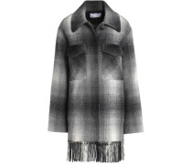 Fringe-trimmed checked felt coat