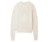 Woman Cable-knit Cotton-blend Sweater Ivory