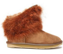 Mongol Marabou Feather-paneled Shearling Ankle Boots Light Brown
