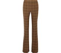Printed stretch-wool bootcut pants