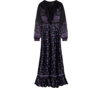 Lace-up Printed Fil Coupé Chiffon And Silk-blend Satin Maxi Dress Black Size 0