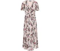 Woman Elodie Floral-print Crepe Peplum Midi Dress Pastel Pink