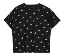 Woman Cropped Printed Cotton-jersey T-shirt Black
