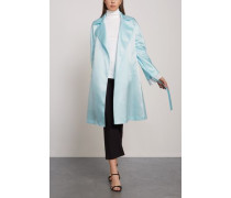Belted Satin Trench Coat Sky Blue