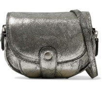 Momo metallic cracked-leather shoulder bag