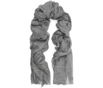 Frayed metallic checked cashmere scarf