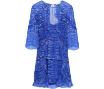 Eorie Ruffled Metallic Jacquard Mini Dress Blue