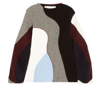 Color-block ribbed-knit sweater