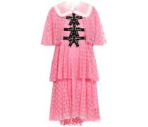 Embellished velvet-trimmed tiered lace dress