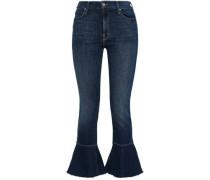 Frayed High-rise Kick-flare Jeans Dark Denim  4