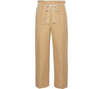 Linen And Cotton-blend Twill Straight-leg Pants Beige