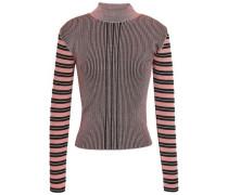 Striped Metallic Ribbed-knit Top Bubblegum