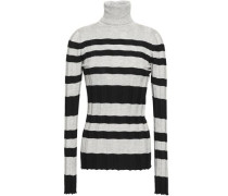 Ribbed Striped Silk And Cotton-blend Turtleneck Top Gray